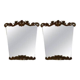 Italian Mid-Century Serge Roche Style Painted and Gilt Wood Mirrors-A Pair For Sale