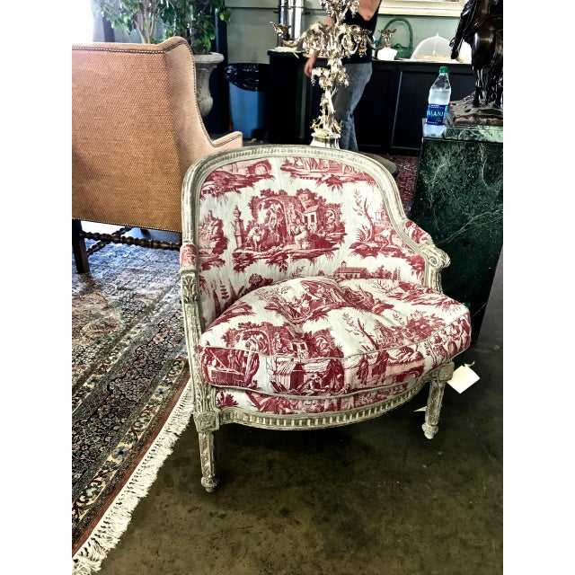 Louis XVI 18th c. French Painted Bergere in Early 19th Century Toile For Sale In Los Angeles - Image 6 of 6