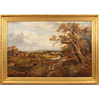 Antique European Village Landscape Oil Painting by Colin Campbell Cooper For Sale