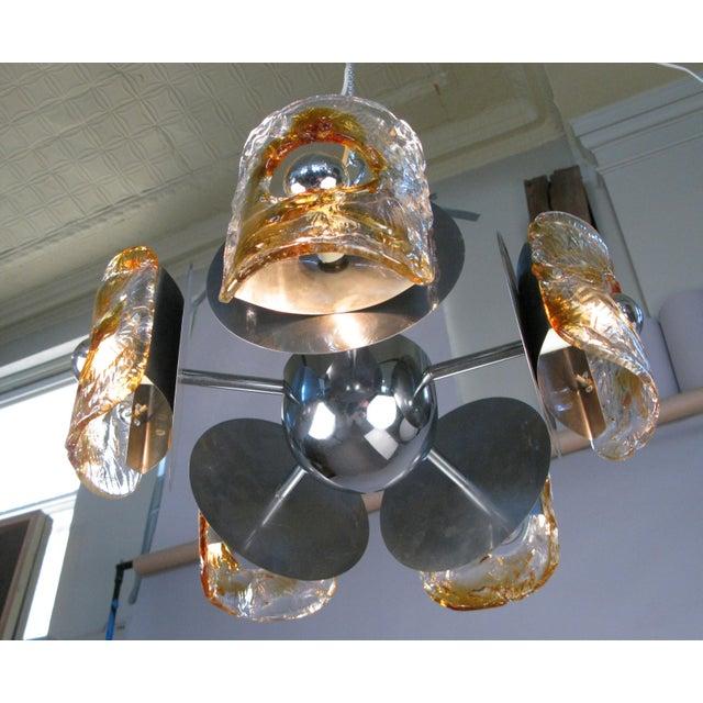 1960s 1960s Italian Glass & Chrome Murano Chandelier For Sale - Image 5 of 9