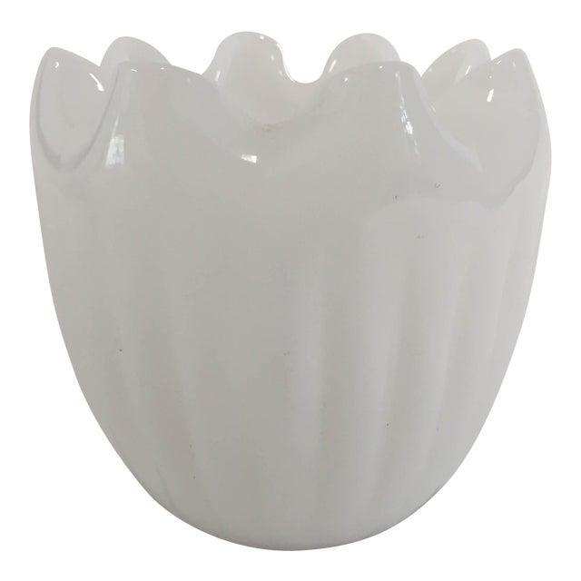 Midcentury Modern Milk Glass Ruffle Vase For Sale