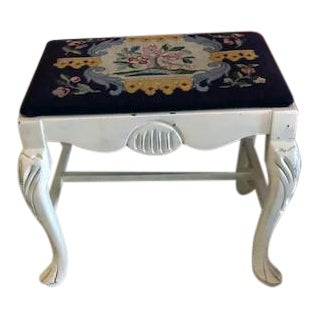 Antique Black Needle Point Stool For Sale