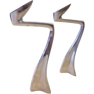 Zig Zag Aluminum Candle Holders - A Pair For Sale