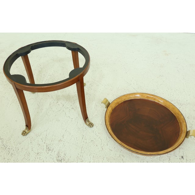 Wood Maitland Smith Round Mahogany Tray Top Coffee Table For Sale - Image 7 of 9