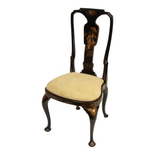 Queen Ann Style Chinoiserie Decorated Side / Dining Chair For Sale