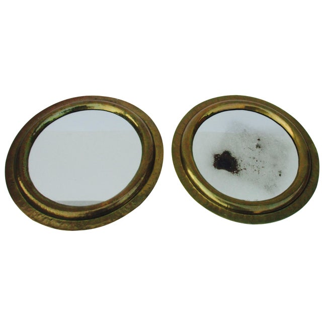 Round Brass Boho Mirrors - A Pair - Image 1 of 7