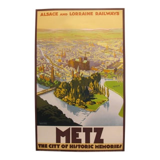 1920s French Art Deco Travel Poster, Metz For Sale
