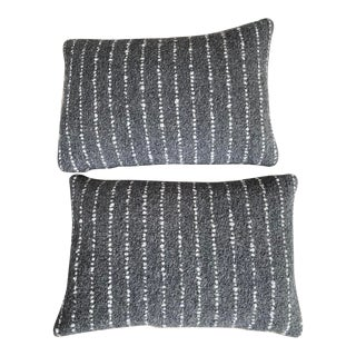Featured in the 2020 San Francisco Decorator Showcase — Custom Gray and White Striped Alpaca Wool Throw Pillows - Set of 2 For Sale