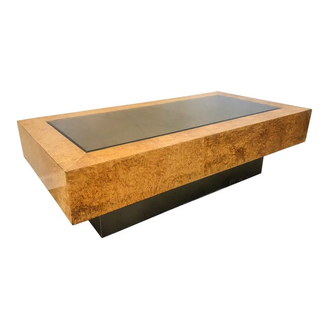 Milo Baughman Burl ,Chrome, and Mirrored Coffee Table For Sale