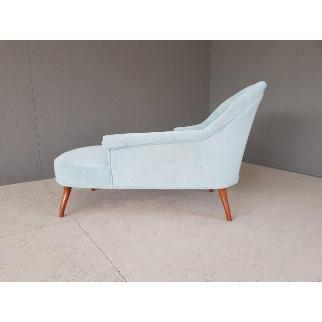 French Upholstery Blue French Style Chaise Lounge For Sale - Image 3 of 13