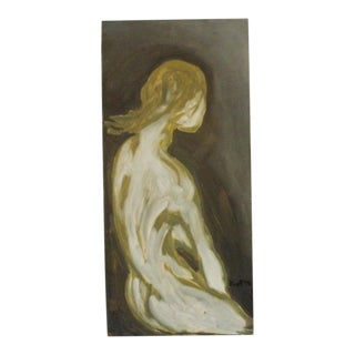 1970s Abstract Figurative Female Nude Oil Painting For Sale