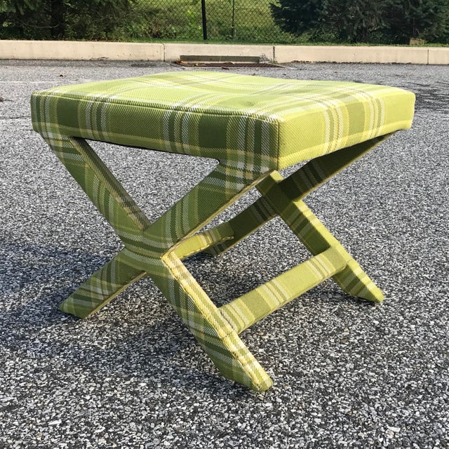 Mid Century Billy Baldwin Upholstered Parsons X Bench For Sale - Image 9 of 9