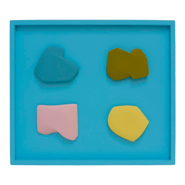 """Jaena Kwon """"Slice_Sea"""" Minimal Abstract Colorful Acrylic Shapes Artwork in Frame For Sale"""