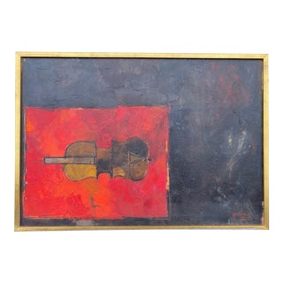 """1959 """"Still Life With Violin"""" Abstract Oil Painting by Giuseppe Gambino, Framed For Sale"""