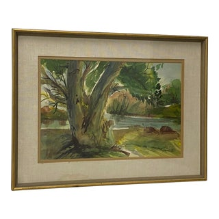 """Vintage Landscape """"The Maple by the Lake"""" by Claire Trindell C.1960 For Sale"""