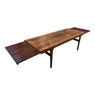 Mid Century Danish Modern Rosewood Coffee Table Extendable Draw Leaf and Drawer by Johannes Andersen