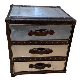 Restoration Hardware Eichholtz Steel & Leather 3 Drawer Nightstand For Sale