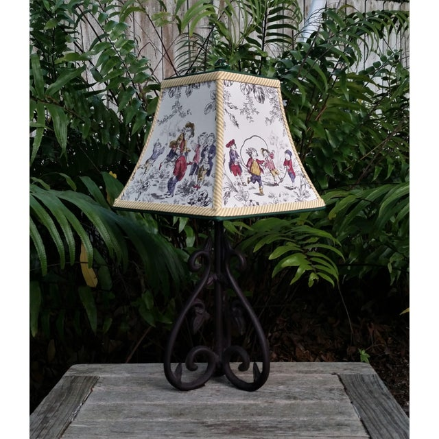 Toile Lampshade French Country Square Bell For Sale In West Palm - Image 6 of 11