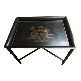 Vintage Chinoiserie Black Folding Tole Tray Table For Sale