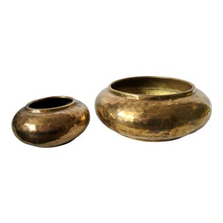 A Pair- Moroccan Hammered Brass Vessels For Sale