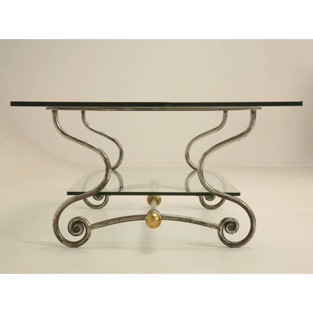 Distinguished French Glass Steel And Brass Two Tier Coffee Table
