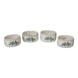 Vintage Royal Worcester Spode Porcelain Holly Design Napkin Rings - Set of 4 For Sale