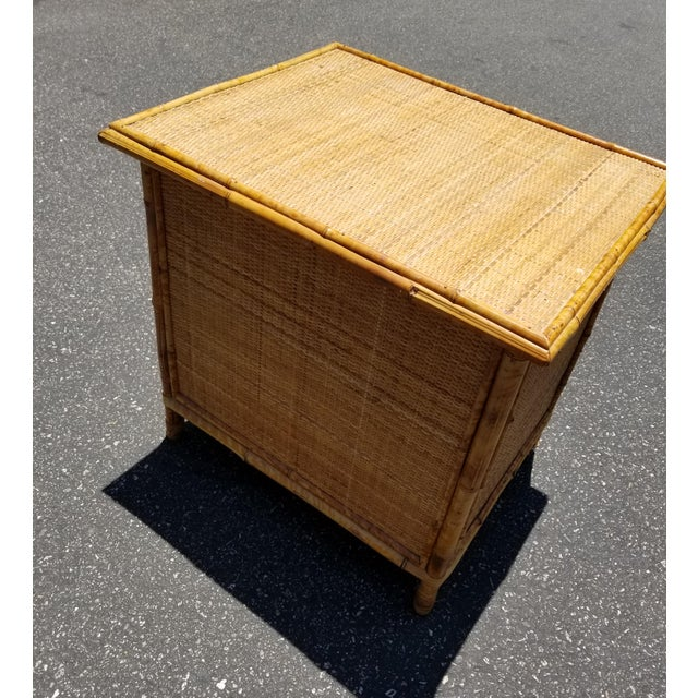 Brown Vintage Mid Century Modern Bamboo Rattan Nightstand For Sale - Image 8 of 10