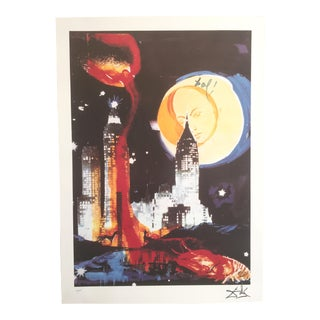 "Salvador Dali ""Manhattan Skyline Tarot the Moon"" Original Limited Edition Lithograph"