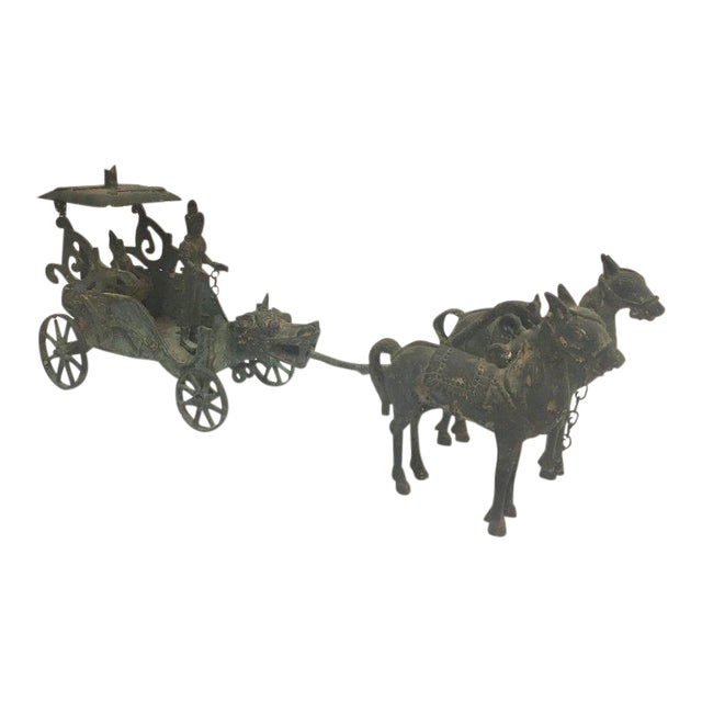 Antique Asian Bronze Chariot With Dragon Head Pulled by Horses For Sale