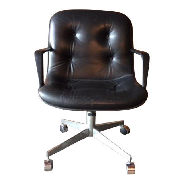 steelcase vintage leather chrome rolling office chair chairish