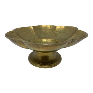 Vintage Brass Pedestal Bowl For Sale