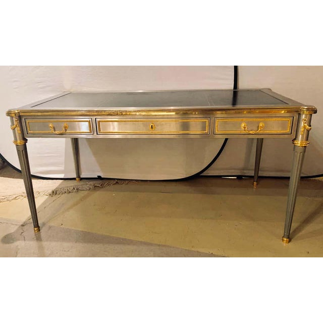 French French Maison Jansen Stainless Steel Nickel-Plated Bronze Desk or Bureau Plat For Sale - Image 3 of 12