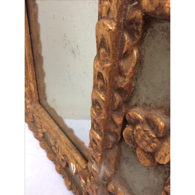 Antique Peruvian Carved Green & Gold Mirror For Sale - Image 4 of 7