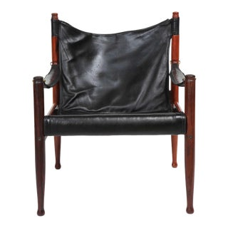 1960s Vintage Erik Worts Danish Rosewood and Black Leather Armchair For Sale