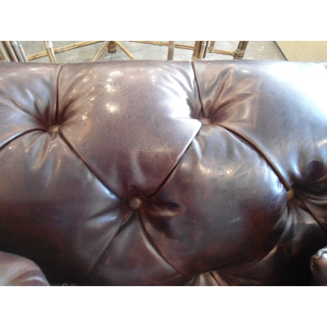 Animal Skin Kravet Chesterfield 3-Seat Sofa, Brown Tufted Leather For Sale - Image 7 of 11