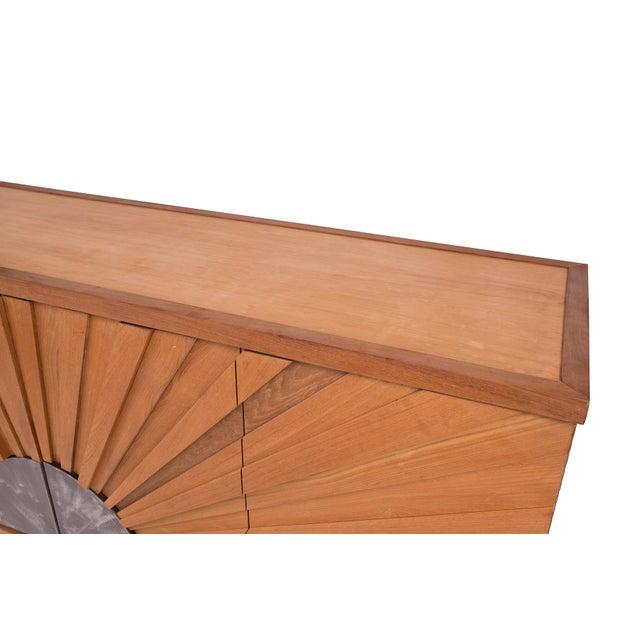 1970s R. Mapache Signed Sunburst Teak Sideboard For Sale - Image 5 of 8