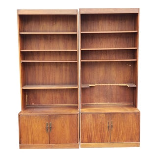 Pair ~ as Is ~ Danish Modern Style Walnut Cabinet Bookcases C1970s For Sale
