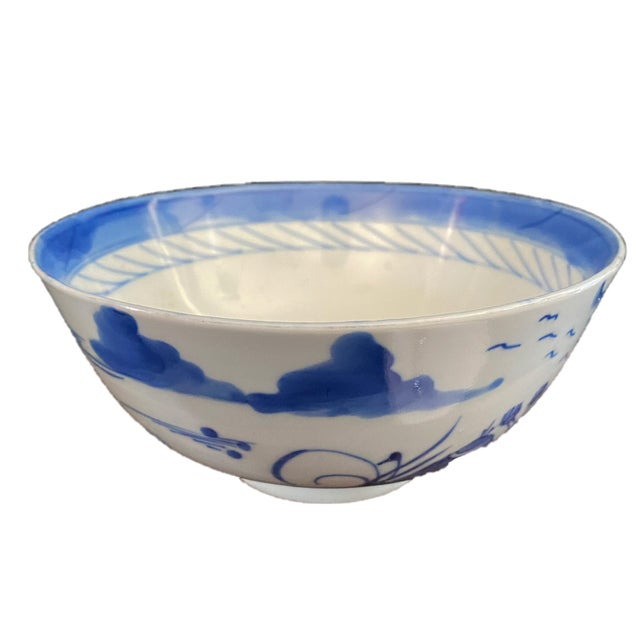 """Chinese 19th Century Chinese Canton Blue and White Porcelain Pagoda Motif Bowl 6"""" D For Sale - Image 3 of 9"""