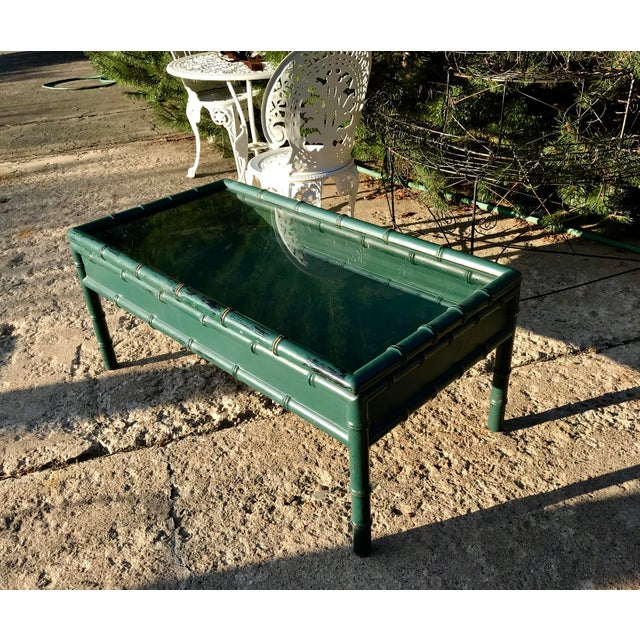 Vintage Hunter Green Faux-Bamboo Coffee Table For Sale - Image 4 of 6