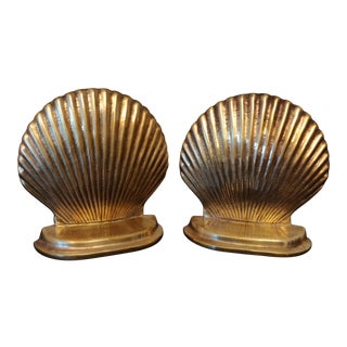 Hollywood Regency Brass Seashell Bookends - a Pair For Sale