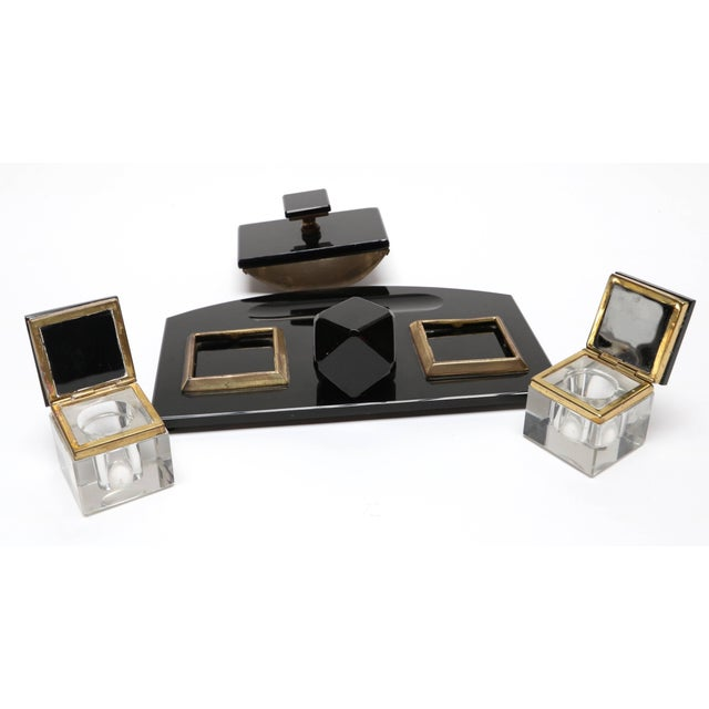 Art Deco Vintage 1950s Black Glass Desk Set For Sale - Image 3 of 5