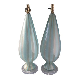 1950s Alfredo Barbini Turquoise-Stripe Murano Glass Lamps - a Pair For Sale