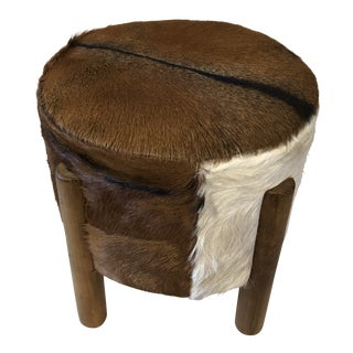 Modern Rustic Cowhide Ottoman For Sale