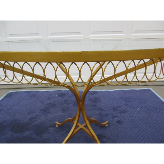 Glass Vintage Hollywood Regency Bistro or Patio Set by Thinline For Sale - Image 7 of 13