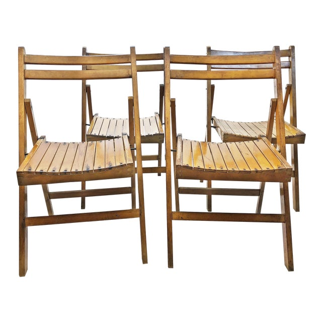 Vintage Rustic Slat Wood Folding Chairs - Set of 4 For Sale