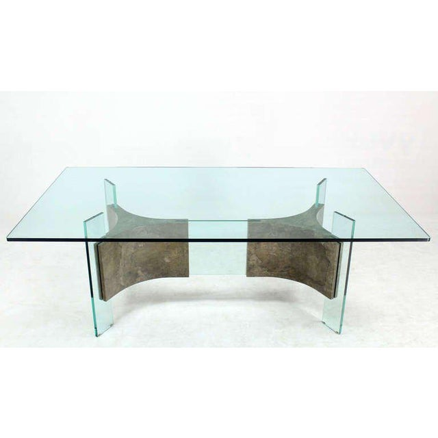 Superb Mid Century Modern Glass Top And Base Dining Or Conference