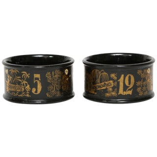 Black Lacque on Papier Mâché Numbered Napkin Rings For Sale