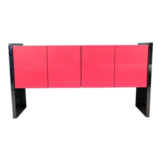 Lacquer and Chrome Cabinet by Milo Baughman For Sale