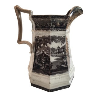 Antique English Staffordshire Transferware Large Pitcher For Sale