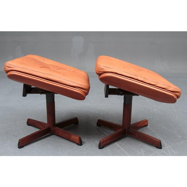 1960s Danish Leather Swivel Chairs & Ottomans - A Pair For Sale - Image 5 of 11